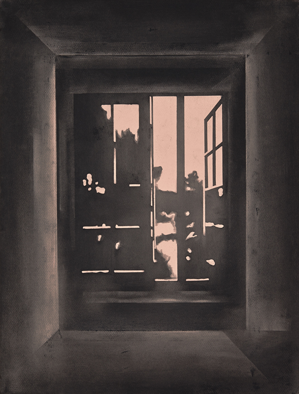 The Open Window I, 2014 Charcoal on paper, 65 x 50 cm