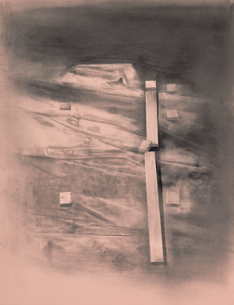 Traces of Memory III, 2014 Charcoal on paper, 65 x 50 cm