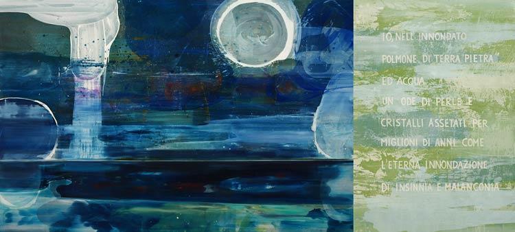 IO, Nell\' innondato polmone, 2002 Oil on canvas, 200 x 420 cm