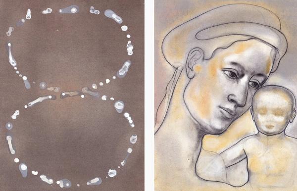 Marias tårer, 1996-97 Oil on canvas, 63 x 48 cm x 2