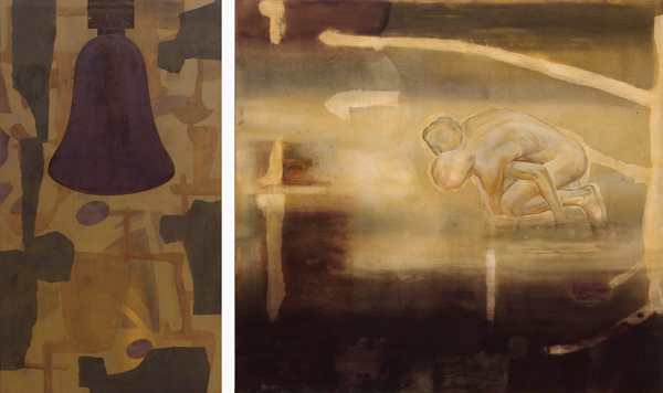 Resonance-Earth Sign, 1992 Oil on canvas, diptych, 160 x 90 - 160 x 175 cm