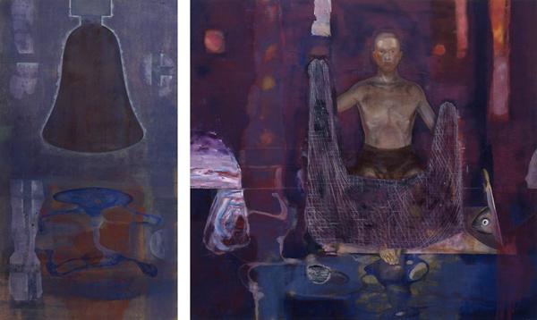 Resonance-Spellbound, 1992 Oil on canvas, diptych, 160 x 90 - 160 x 175 cm