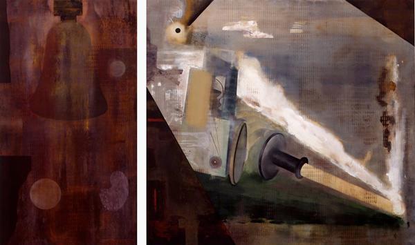 Resonance-X Ray, 1992 Oil on canvas, diptych, 160 x 90 - 160 x 175 cm