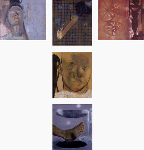 Resonance I-V, 1992 Oil on canvas, each 40 x 35 cm