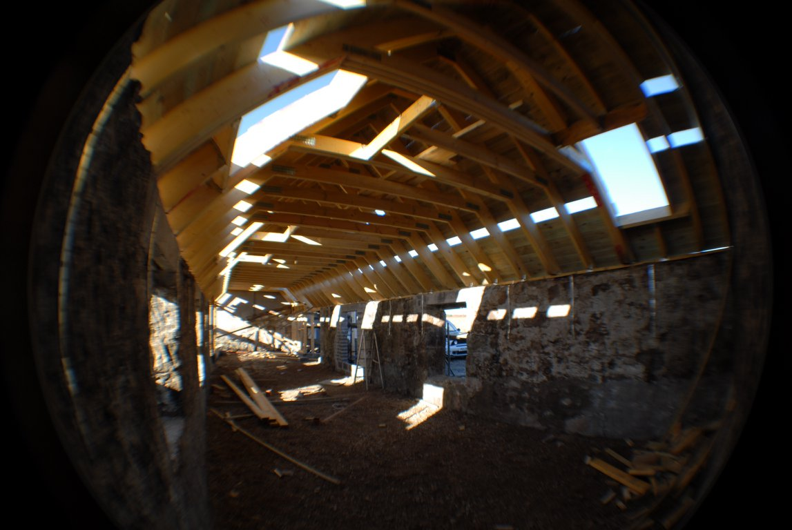 inside pictue of timber frame new roof
