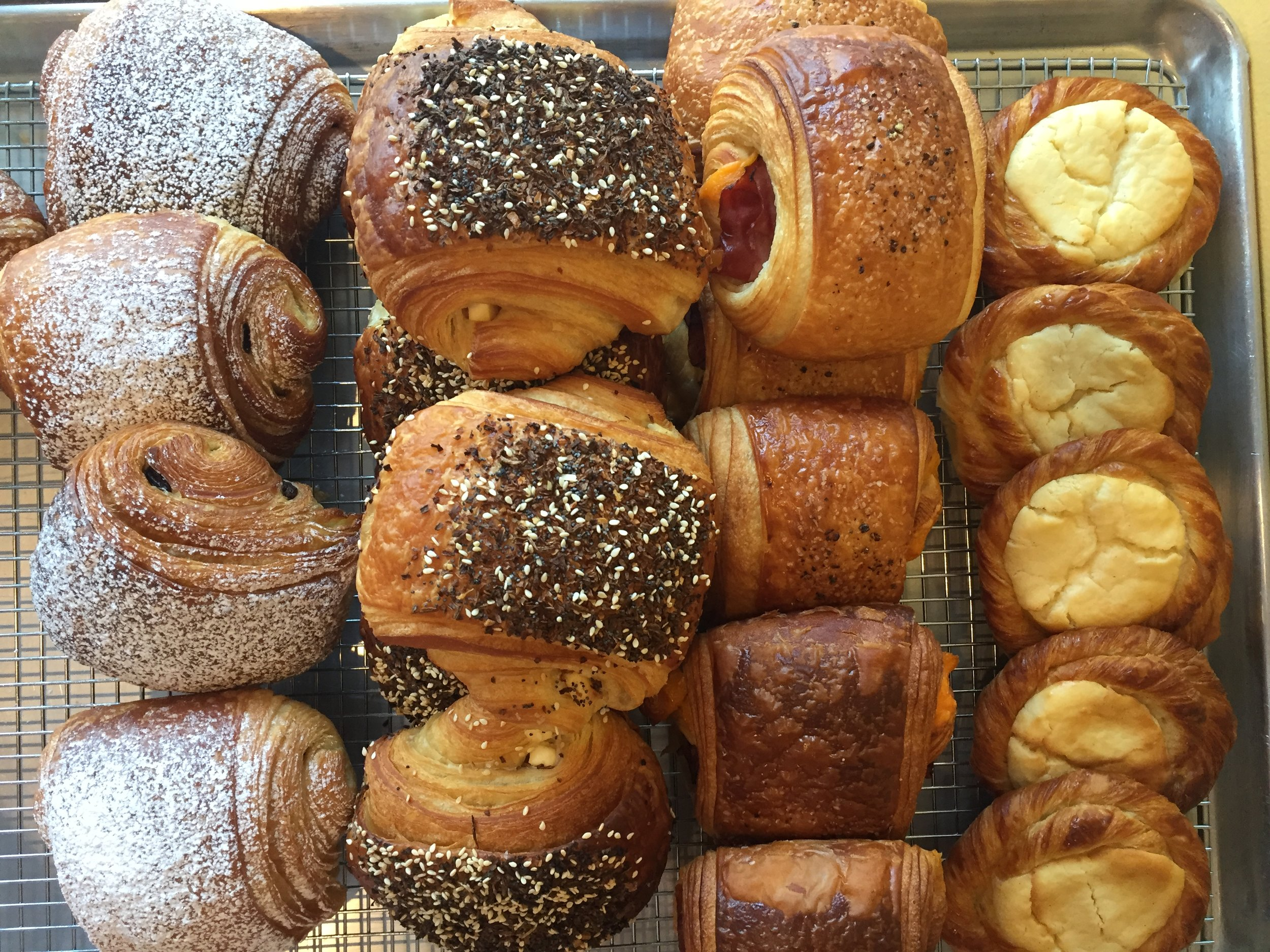Chocolate Croissants • Sesame Croissants • Bacon + Cheddar Croissants • Cheese Danishes