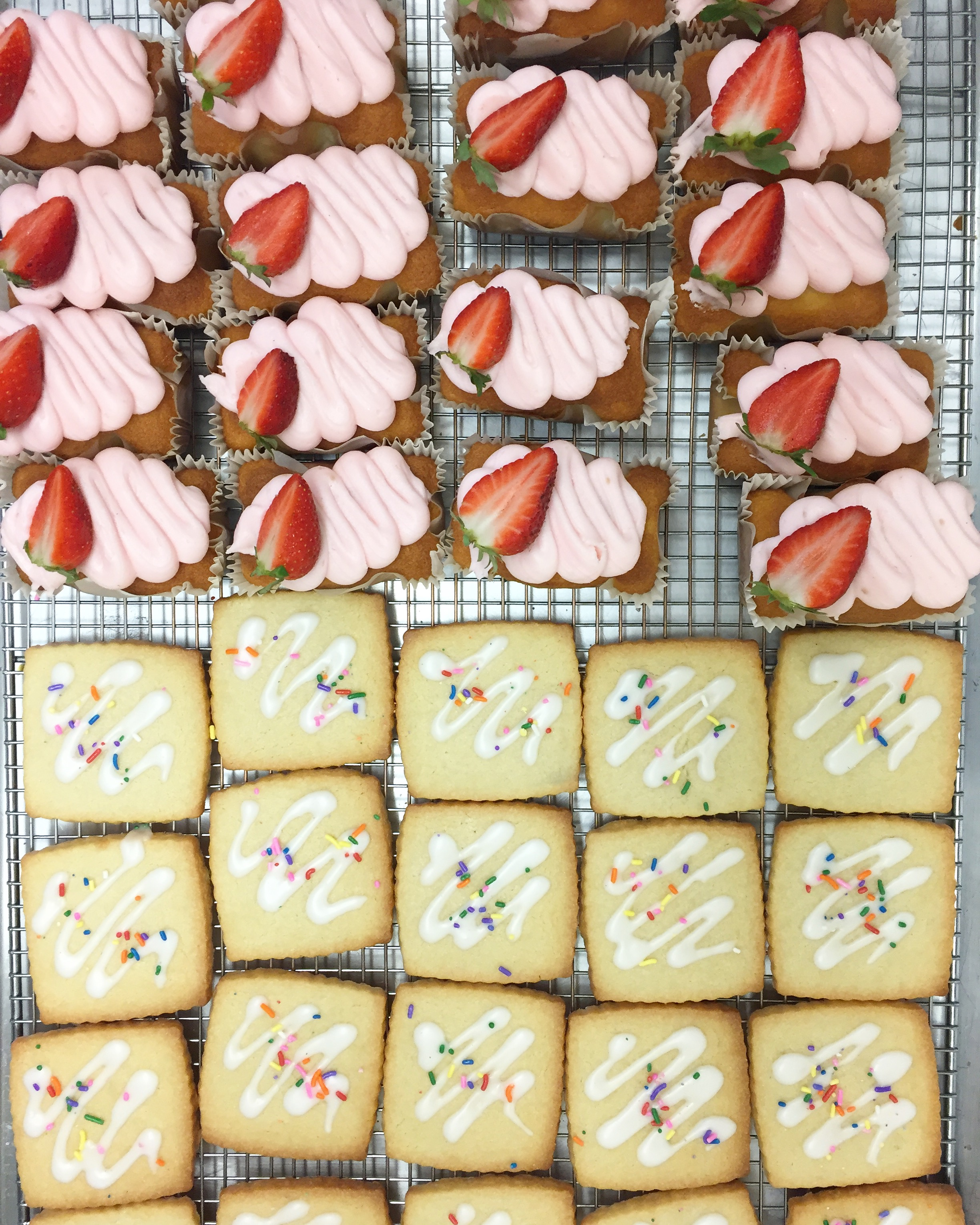 Strawberry Iced Loaves • Mini Cakes