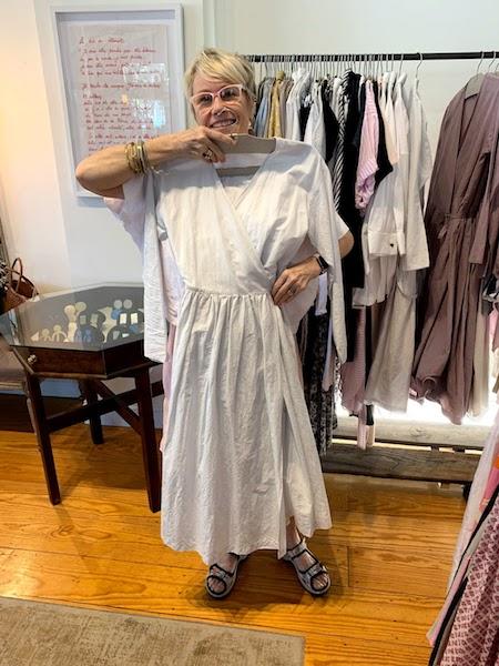 Verdalina owner, Deborah Boschen shows off a dress from a Japanese designer.