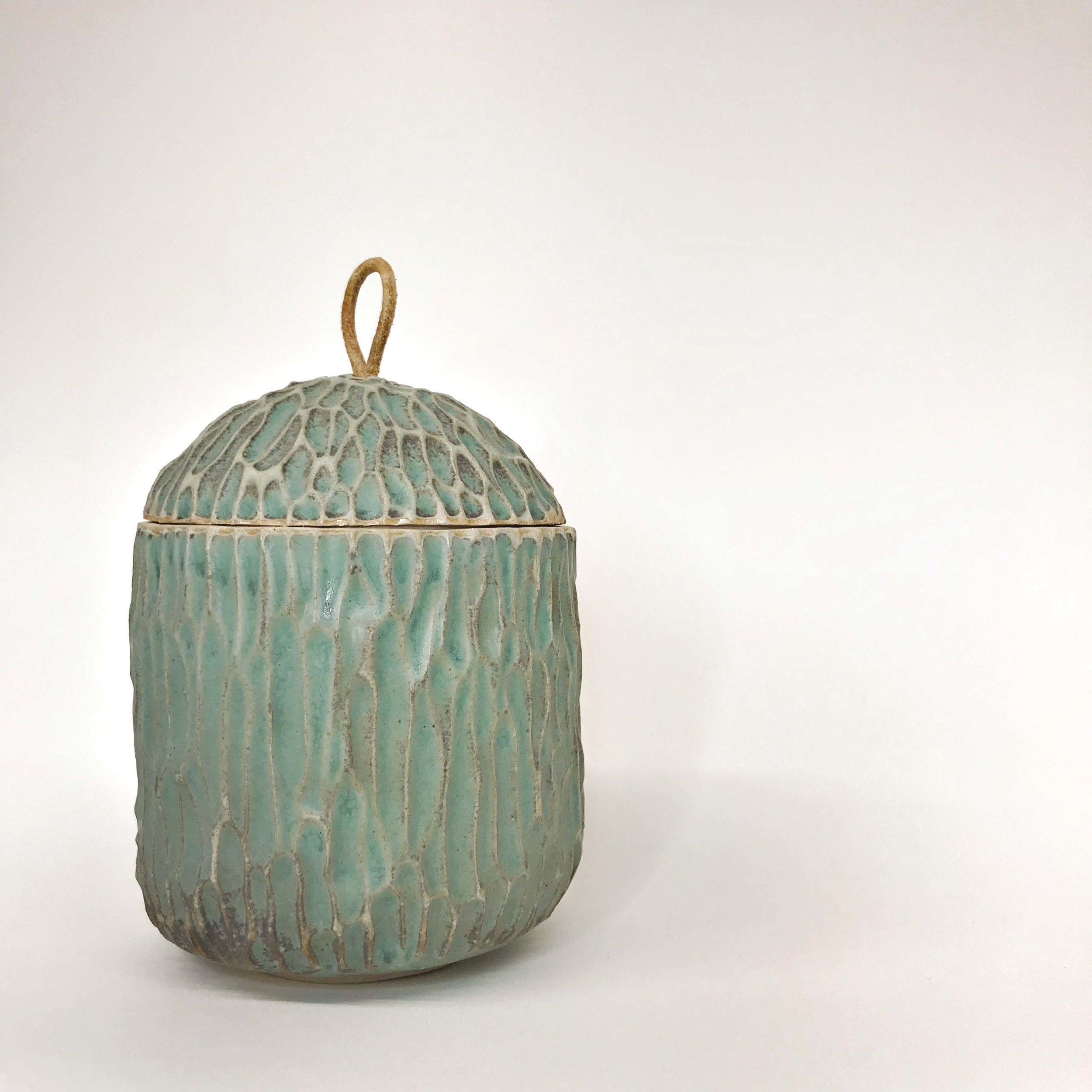 Carved Pot (copper patina)