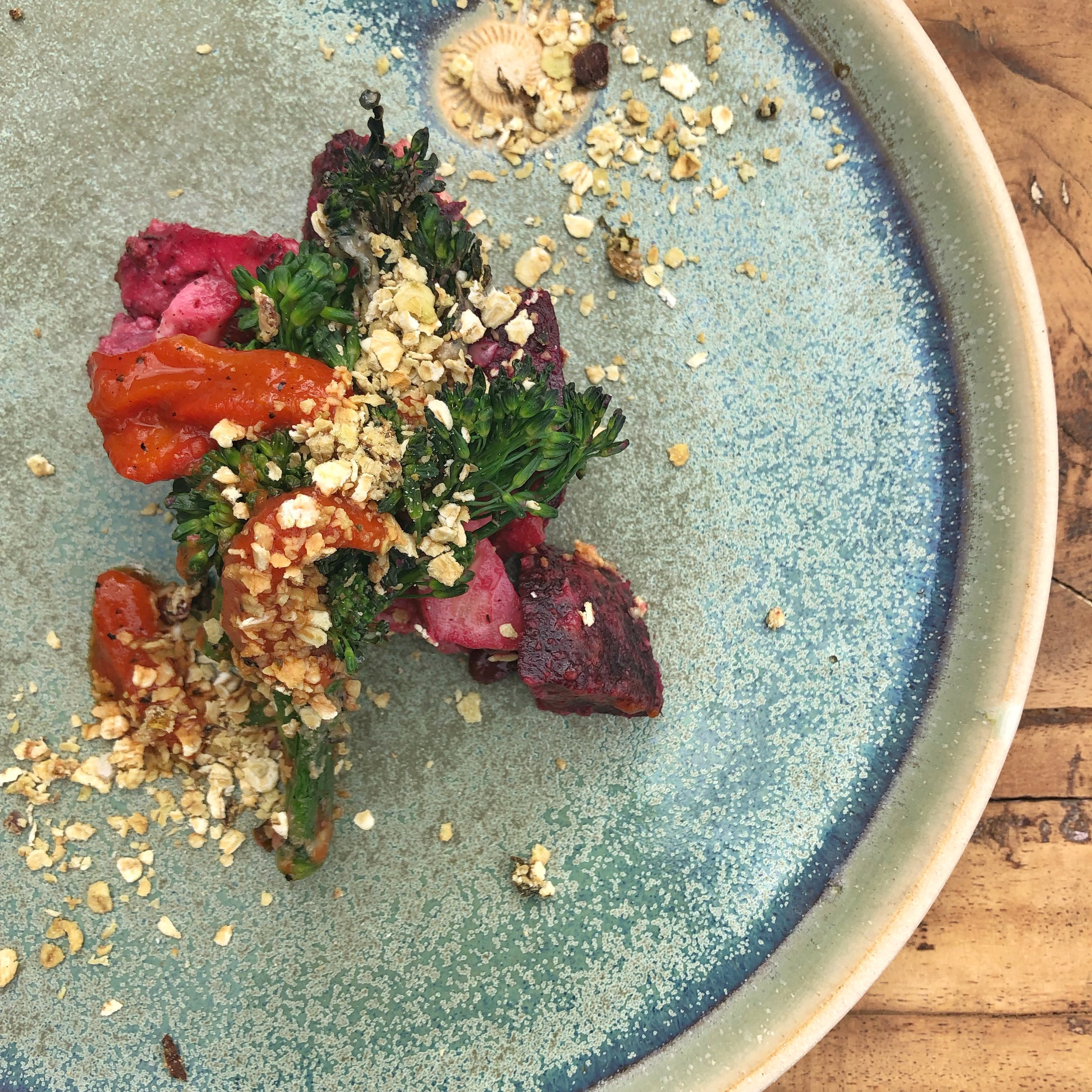 'In and Over' charcoal roast Veg starter