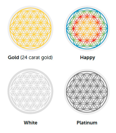 You will find these four color variations of the Flower of Life embedded in many of the Golden Ratio Products.