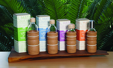 Thank You brand glass bottles from Natures Design Products – 100% Natural Materials and 100% Recyclable