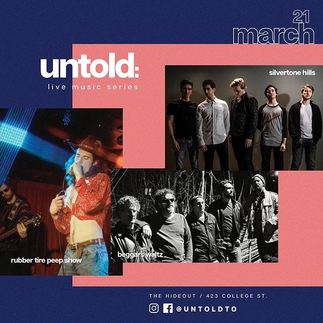 So excited to be back at @thehideouttoronto on Thurs, March 21 for the March edition of @untoldto! Looking forward to sharing the stage with the great @rubbertirepeepshow and @silvertonehills! Won't you come join us? Special ticket details to be announced soon 💸