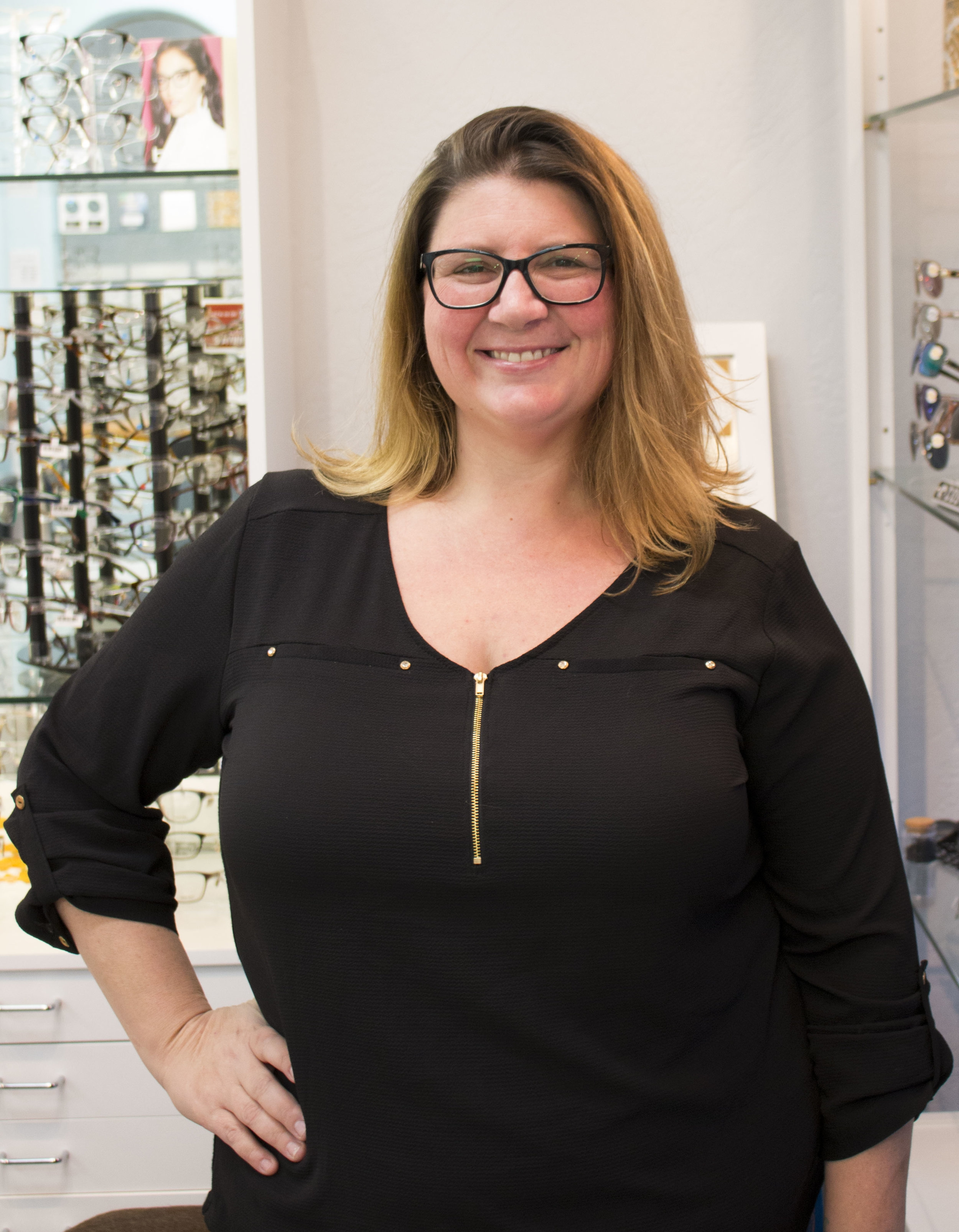 """Samantha Mineo, Office Manager - """"After 15 years, my relationship with Family Optometry Center fills my heart with joy! I love coming to work every day, my co-workers and you make the day fly by. When I am not in the office I can be found hanging out with my son, at the park with my dog or volunteering with Active 20-30. """""""