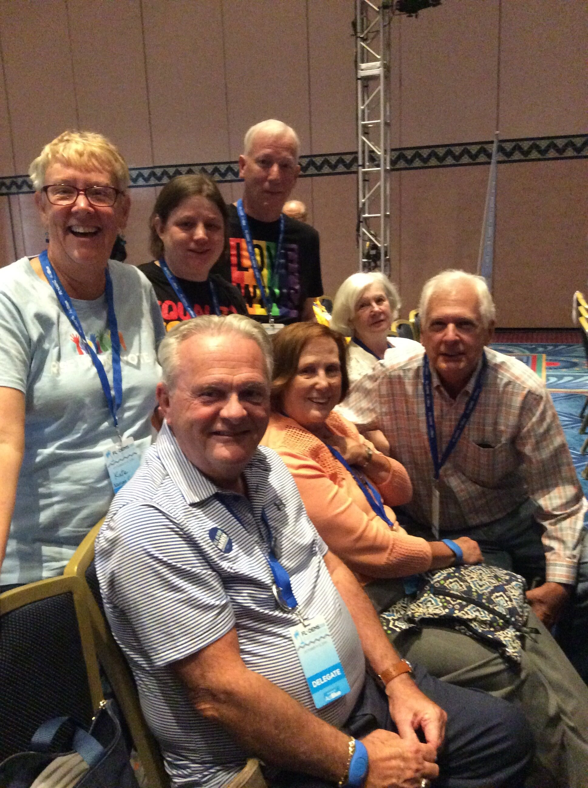 Delegates to the 2019 Florida State Democratic Convention included residents from Bryceville, Yulee, and Fernandina Beach. Delegates heard from national leaders, met in working caucus groups, and voted on resolutions for the upcoming party platform. our nassau county delegates:  Back row:  kate Hart, Jessica Morton, Phil morton.  Front row: Don west, shirley phillips, wayne schultz, carla voisard.  not shown  amelia hart.