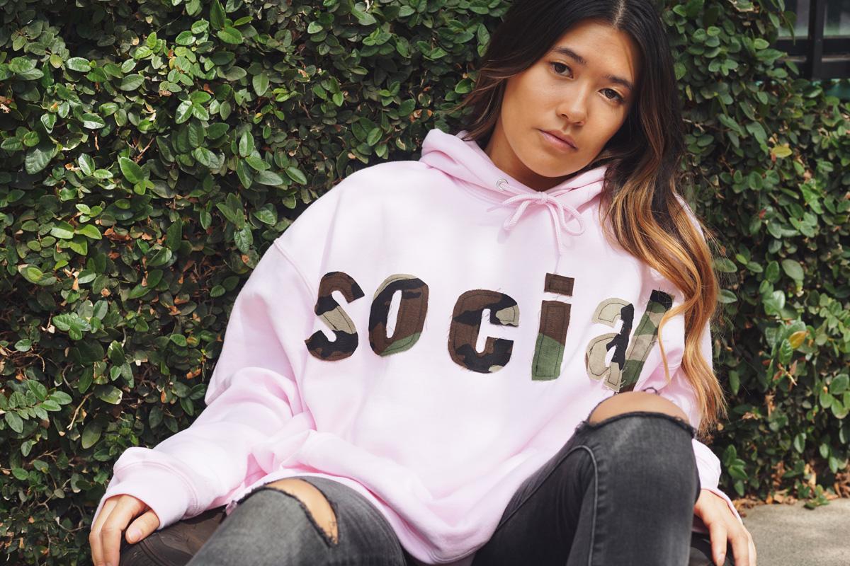 pink social hoodie  $119.00