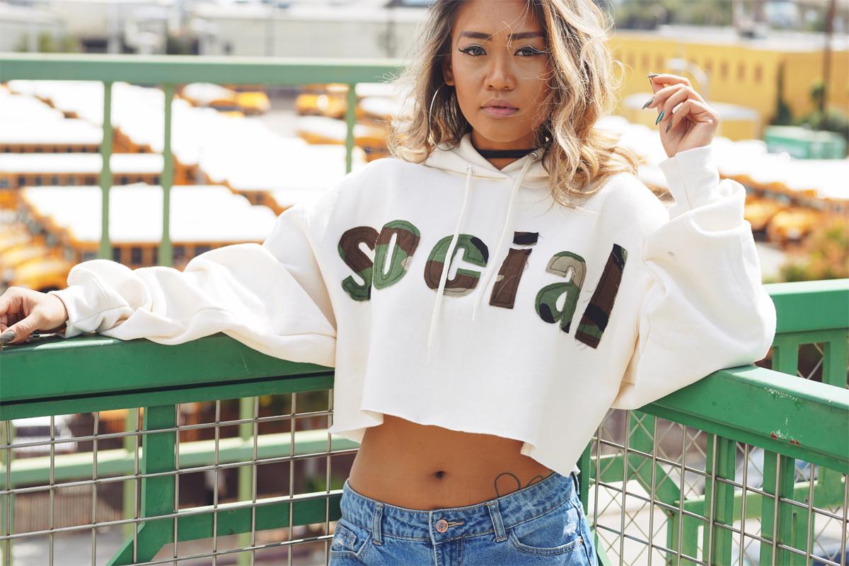 SOCIAL CROP-TOP HOODIE  $89.00