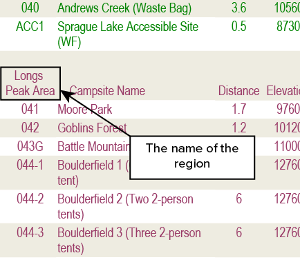 You can find the name of the region from the previous section
