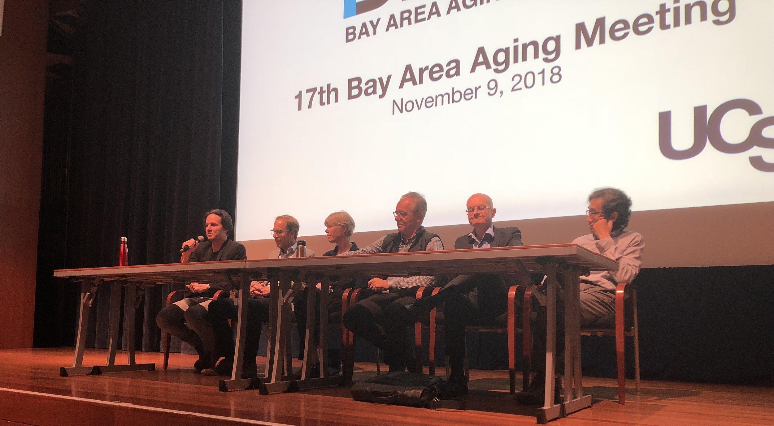 From left to right: Ned David, Tony Wyss-Coray, Cynthia Kenyon, Eric Verdin, Lenny Guarente, and Max Guo