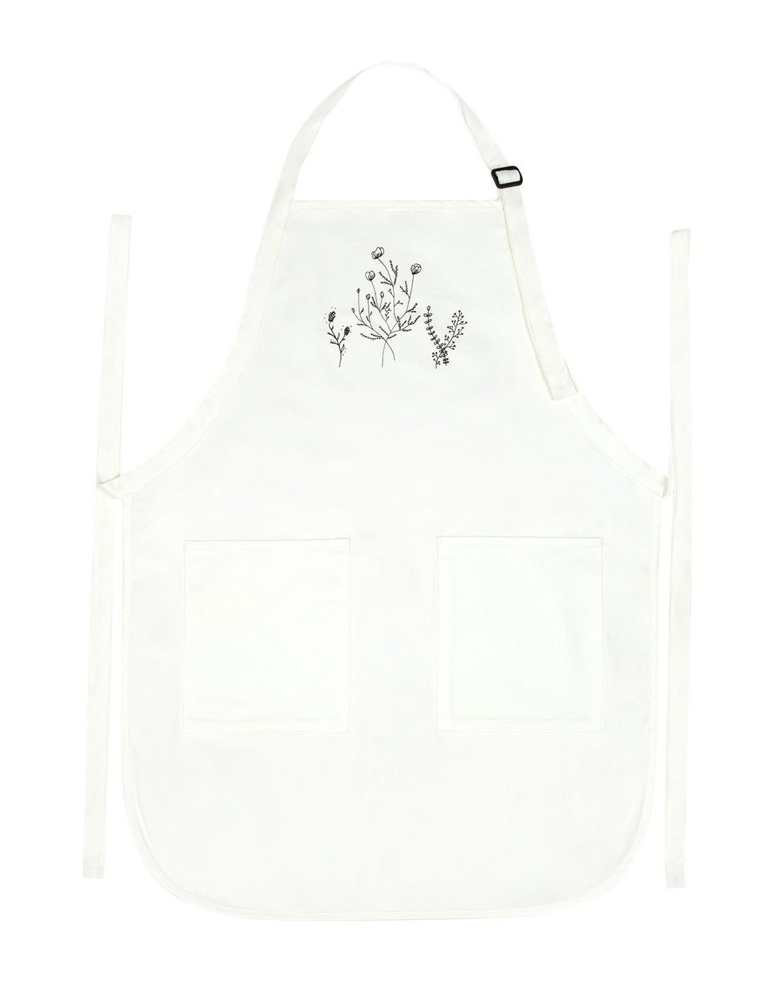 'flower' apron - What you'll get:1 adult apron with two front pockets100% cotton twill with soil-release finishAdjustable neck strapMeasures 22