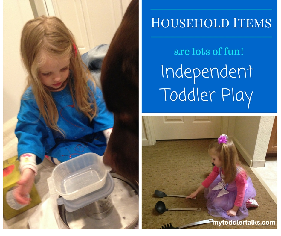 independent toddler play with household items