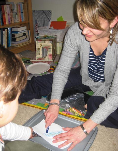 Kim Coloring with Past Client Nicholas
