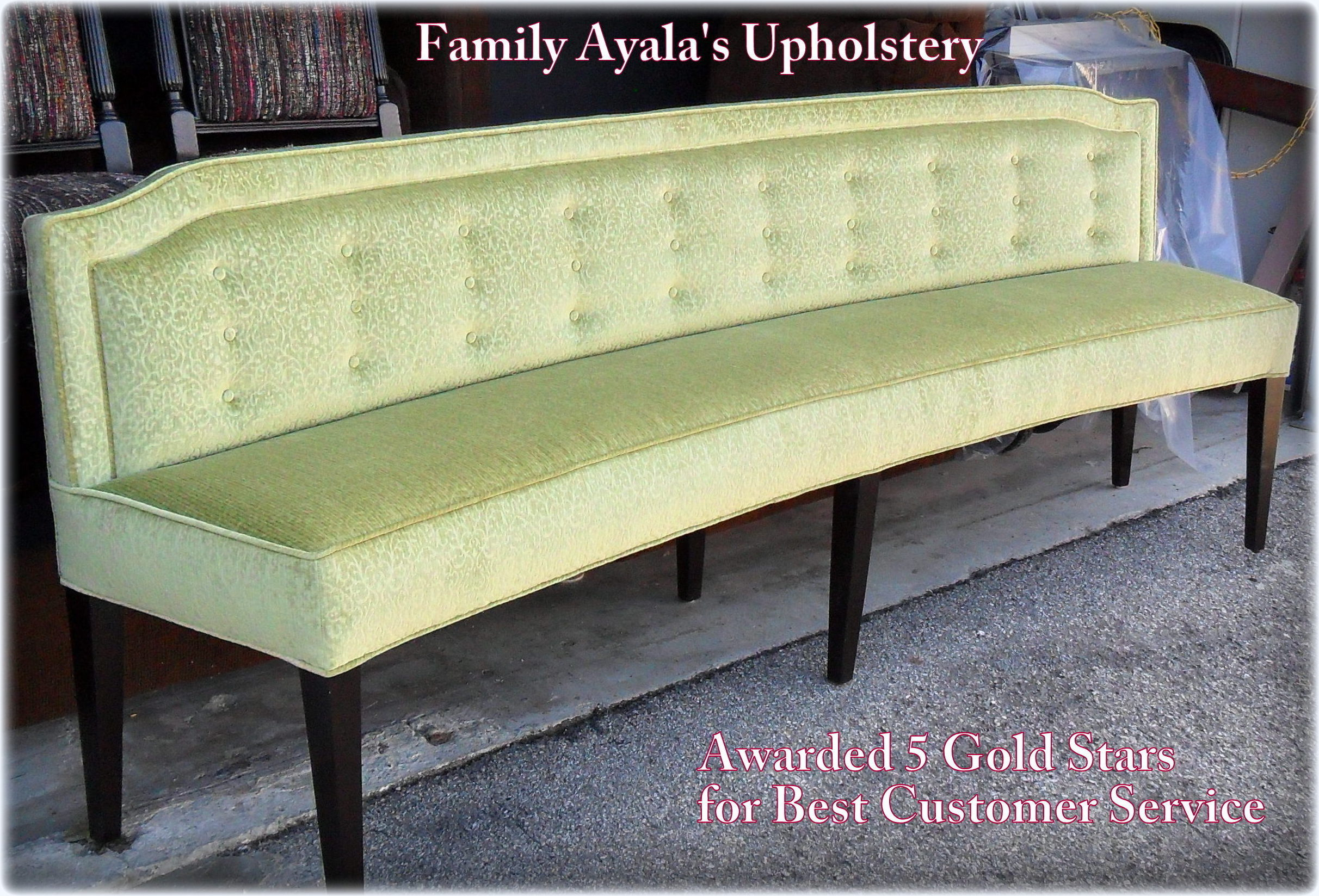 Bench Custom Made Curve Green By AyalasUpholstery.com Shop.jpg