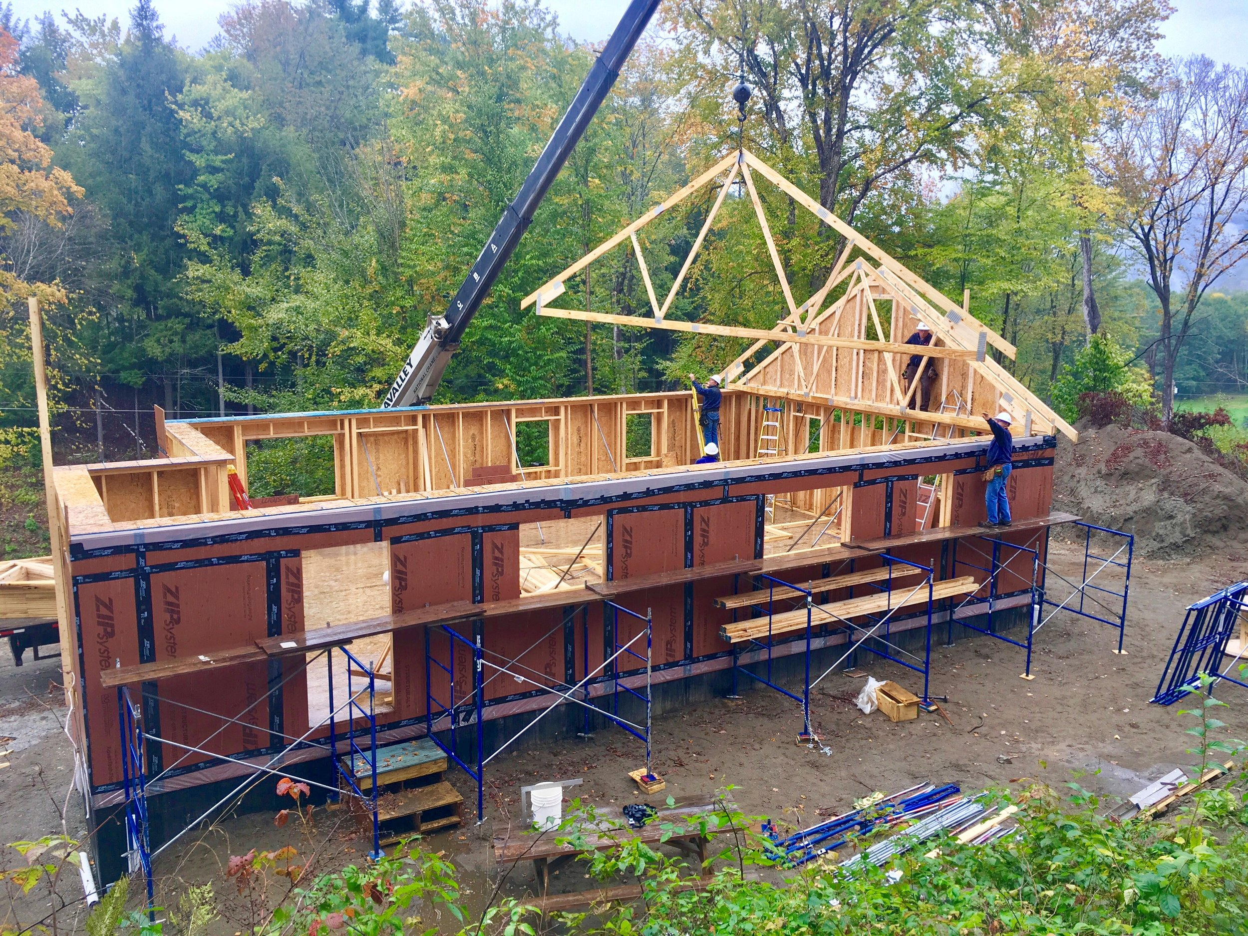 Trusses go up on the Cayer house in Sharon, Vermont