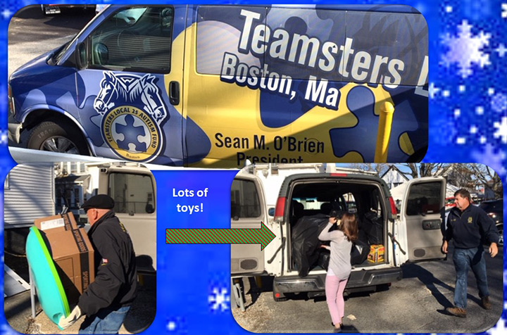 - Seeing the awesome folks from Teamsters Local 25 Boston pull into the driveway with a van full of holiday love!Thank you from all of us at FCR for your generous donations of toys for the children and families we serve!