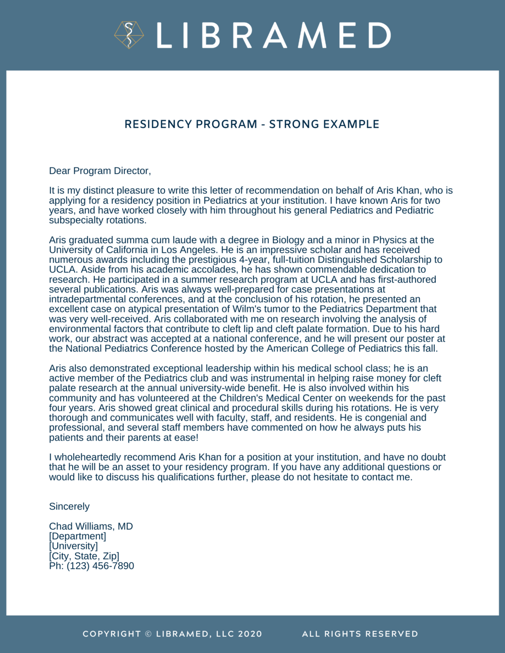 Residency Strong Letters Of