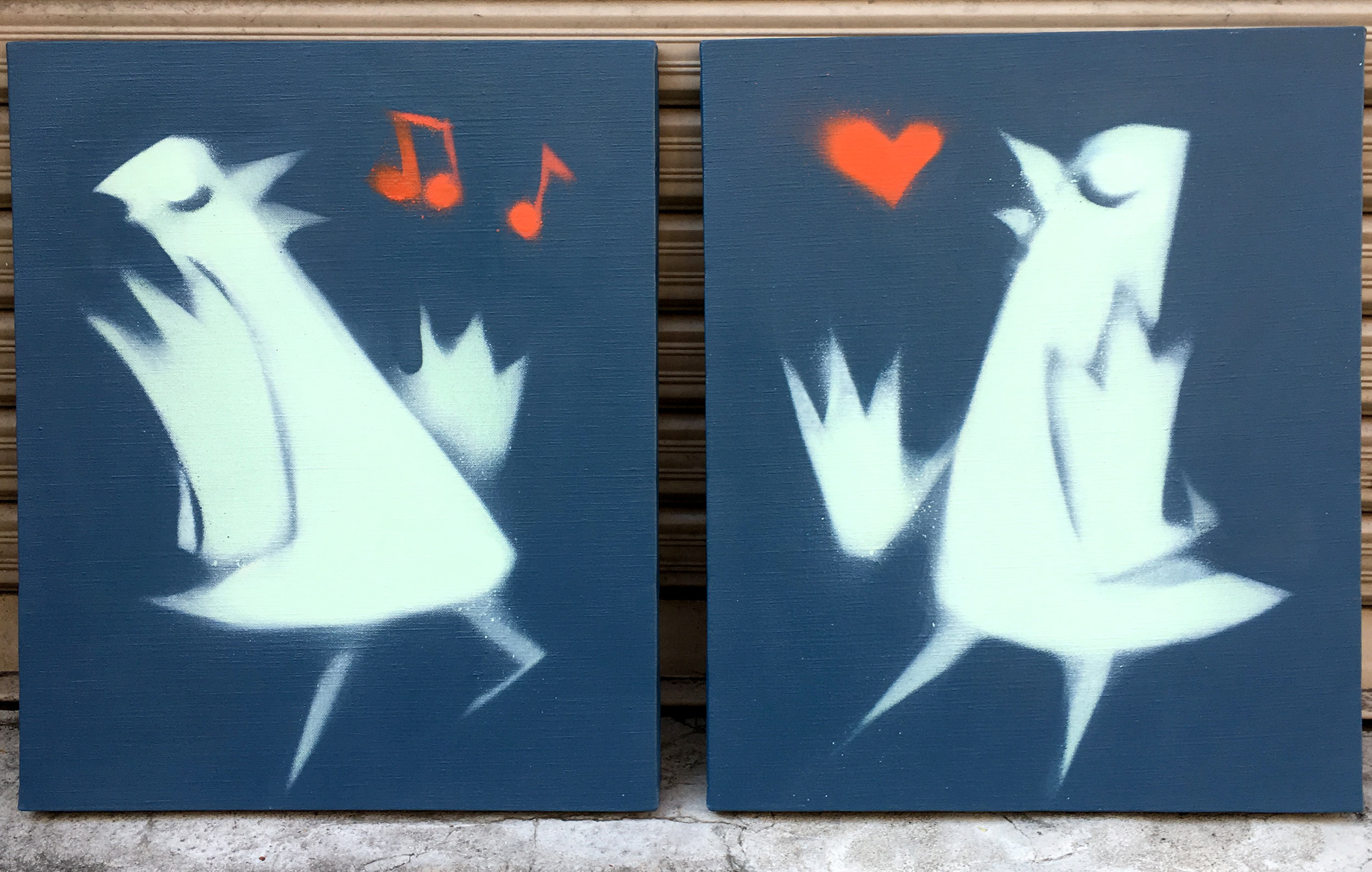 'Lovebirds'. Canvases for Dimlight Gallery Exhibition, Hiroshima '18
