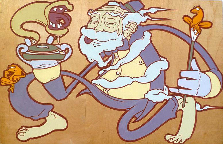 'Frogging'. Emulsion & Paintpen on Wood '09