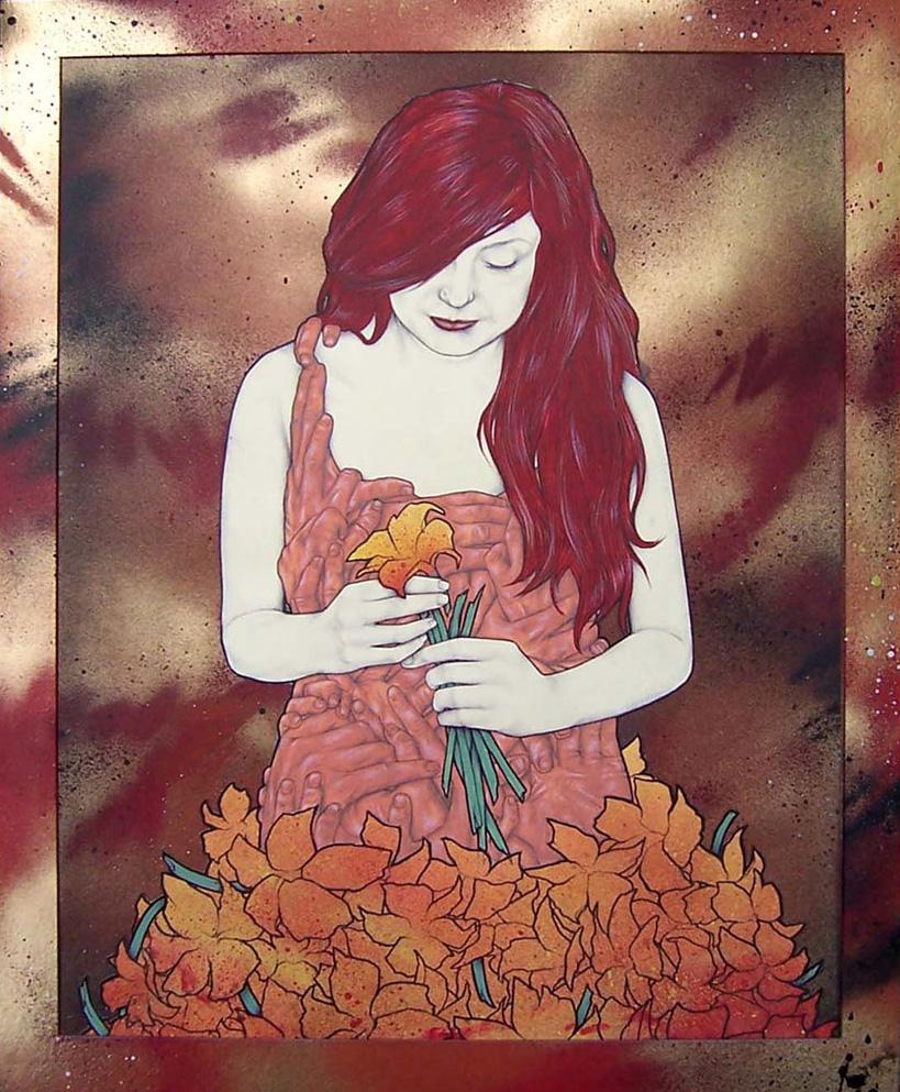 'Sarah'. Framed painting on card '09
