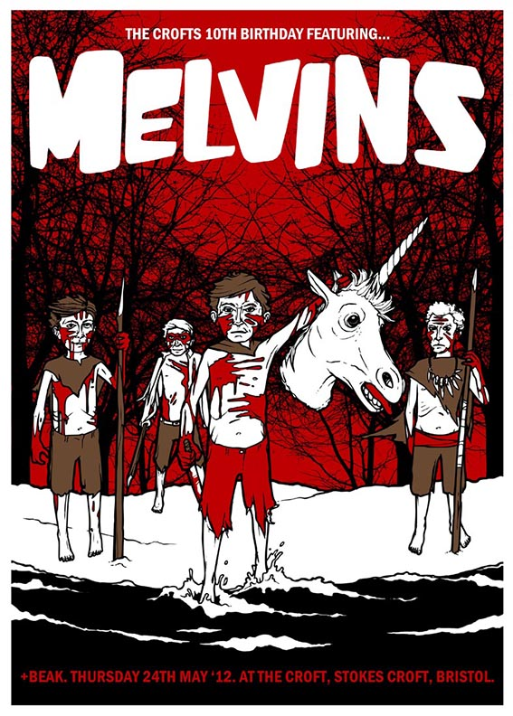 Melvins gig poster. 3 Colour screen print '12