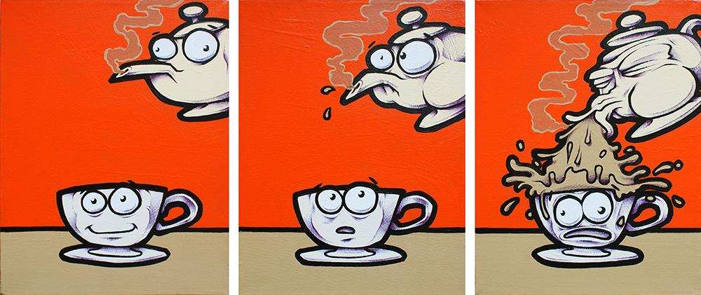 'Teasick'. 3x Canvas