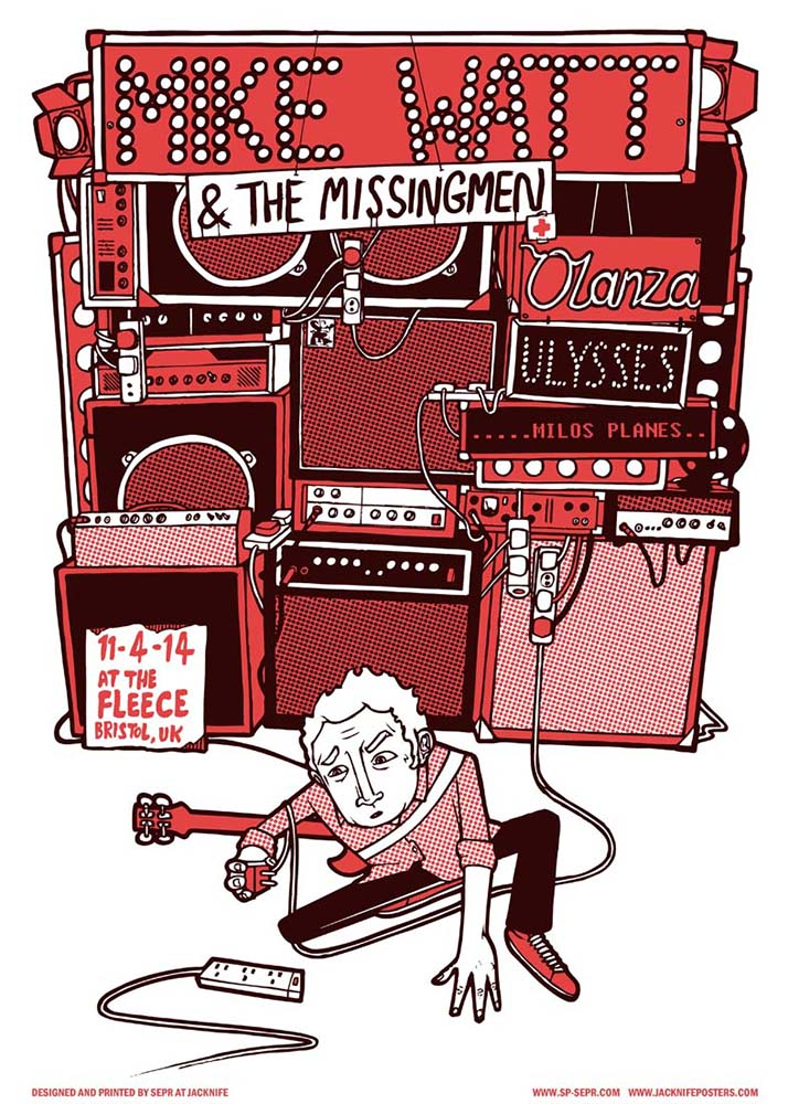 Mike Watt And The Missing Men gig poster. 2 Colour screen print '14