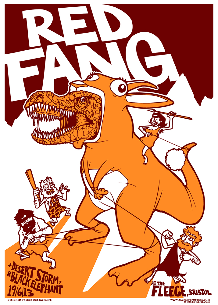 Red Fang gig poster. 2 Colour screen print '13