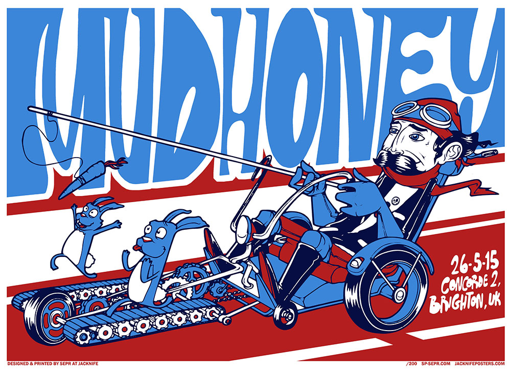 Mudhoney gig poster. 3 Colour screen print '15