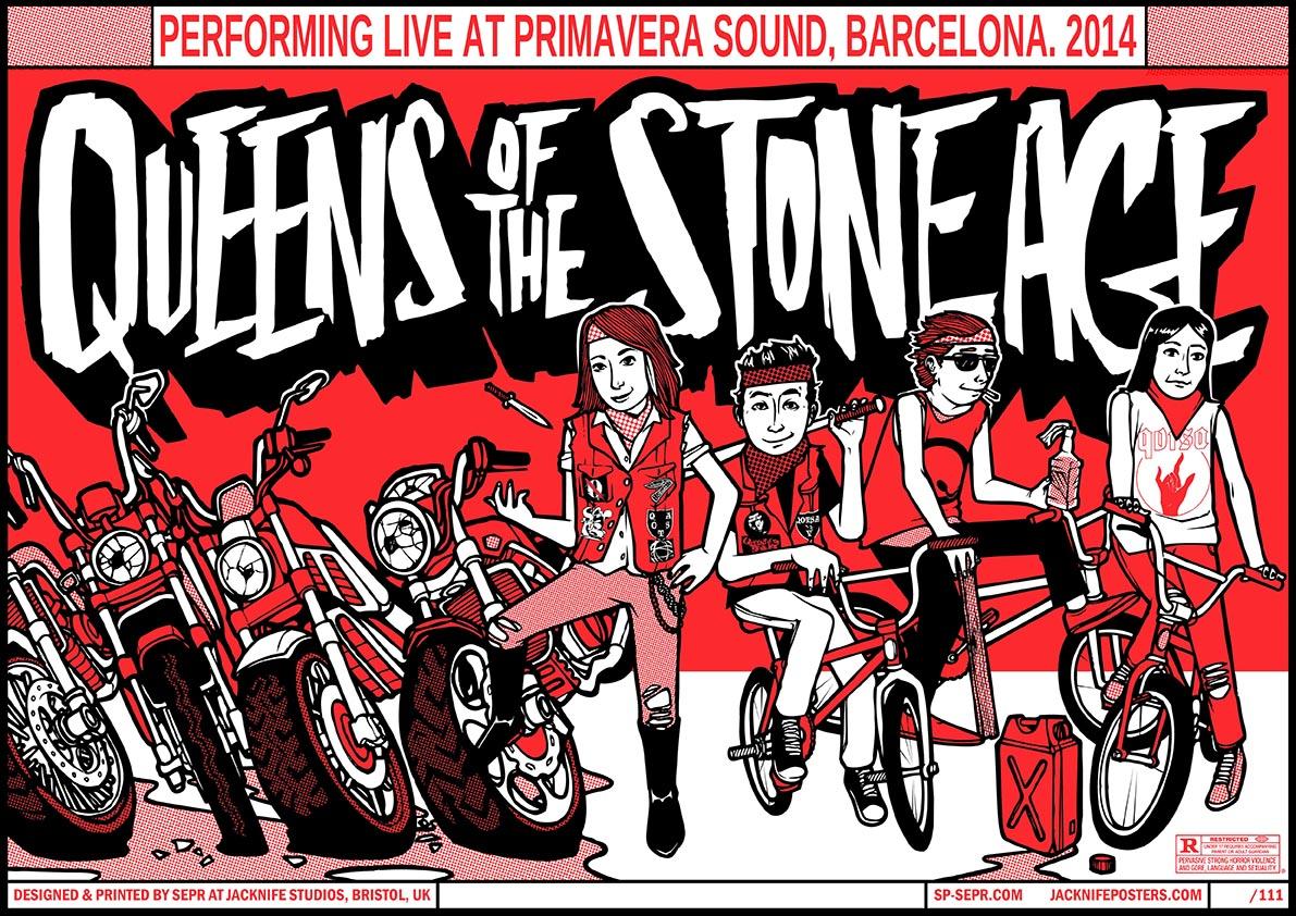 Queens Of The Stone Age- Primavera Festival gig poster. 2 Colour screen print '14