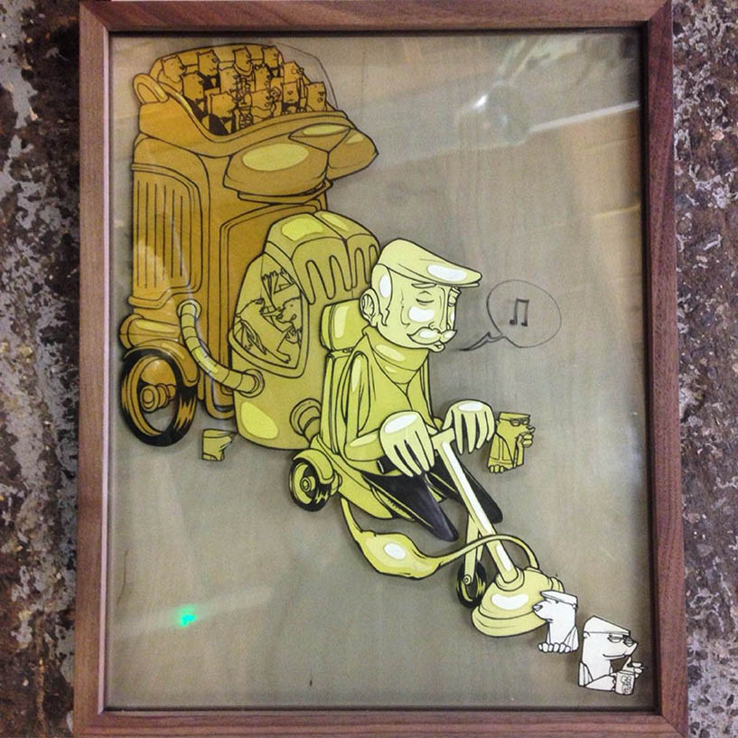 'Keep Your Head Down'. Illustration on framed multi layered glass '16