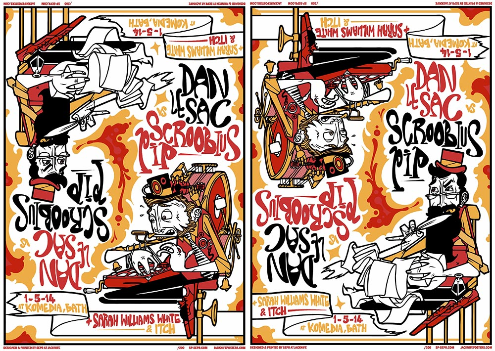 Dan Le Sac Vs Scroobius Pip gig poster. 3 Colour screen print '14