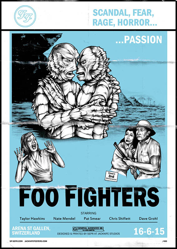 Foo Fighters gig poster. 2 Colour screen print '15