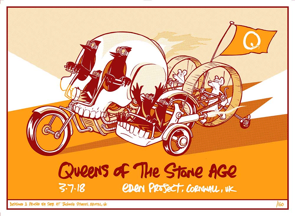 Queens Of The Stones Age gig poster. 2 Colour screen print '18
