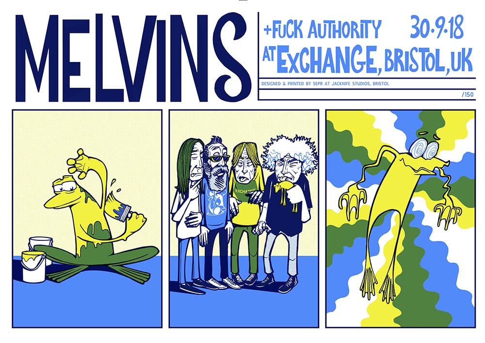 Melvins gig poster. 3 Colour screen print '18