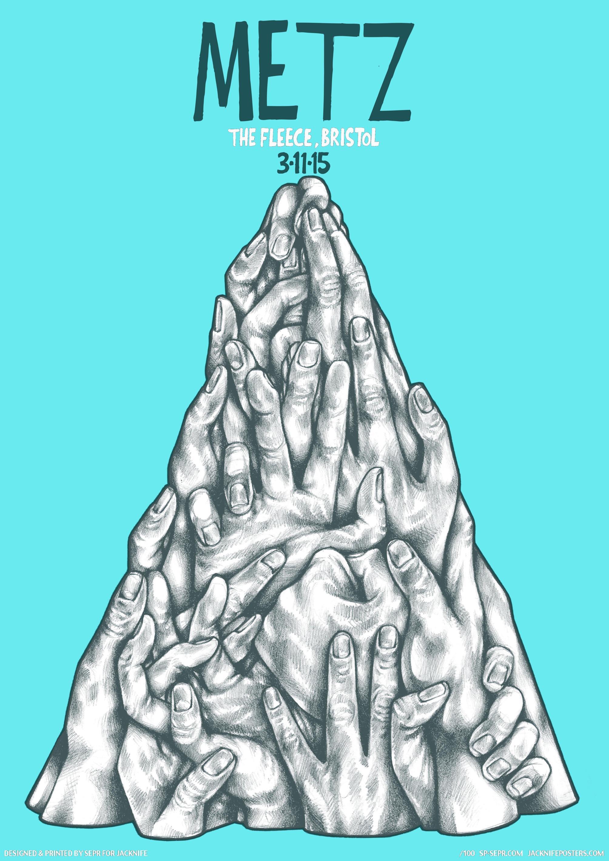 Metz gig poster. 2 Colour screen print '15