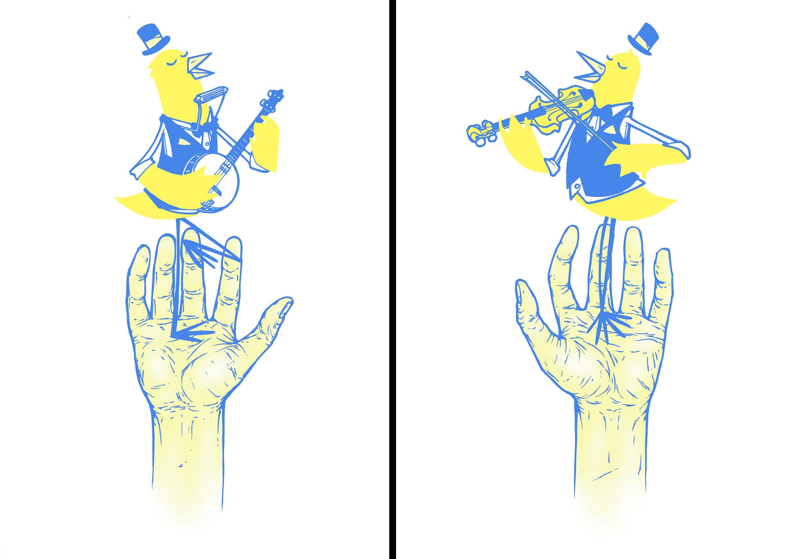 'Bird In Hand' #1&2. 2 Colour screen print '15