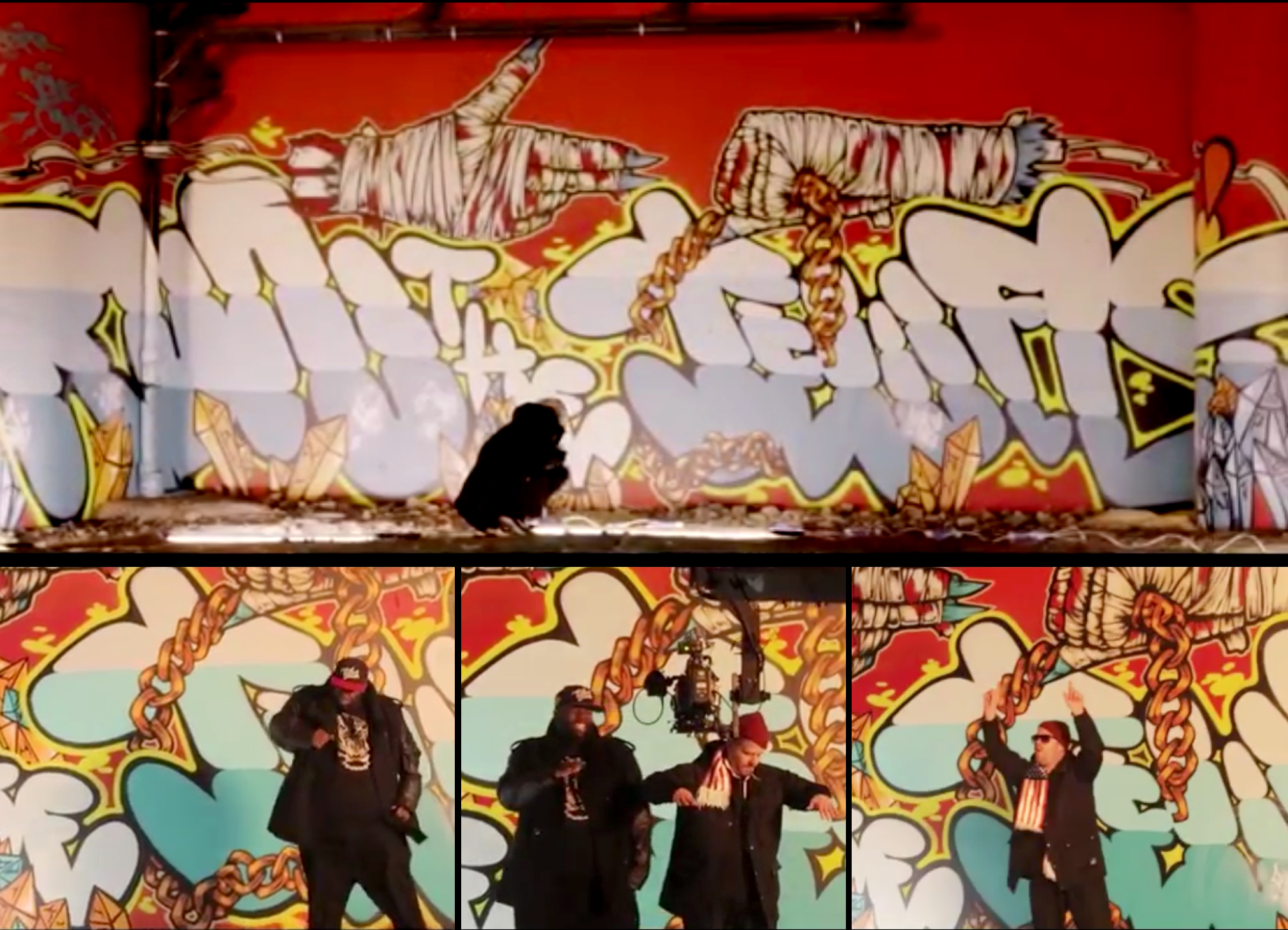 Piece for the Run The Jewels 'Lie, Cheat, Steal' music video. London '14. With Jon5, Onga