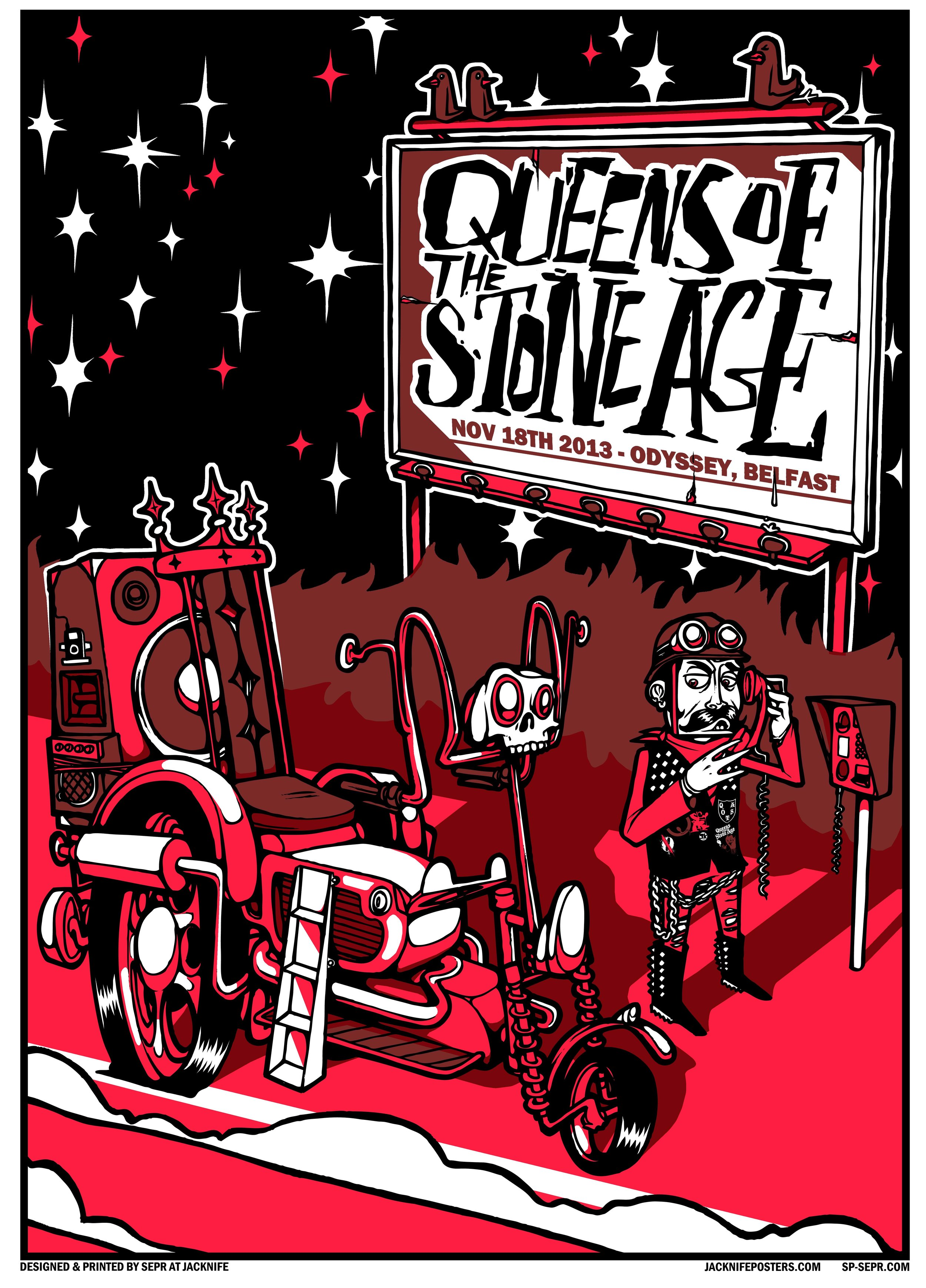 Queens Of The Stone Age gig poster. 3 Colour screen print '13