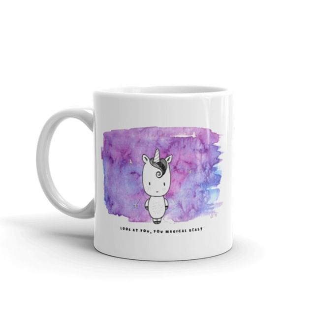 Hey you. Yeah... you. Happy Unicorn Day, you magical beast.⁣ ⁣ Grab yours at www.flowerandwild.com.  #happyunicornday #unicornday2019 #unicorn #coffeemugswithattitude #etsyseller #illustratorsoninstagram #artistsofinstagram