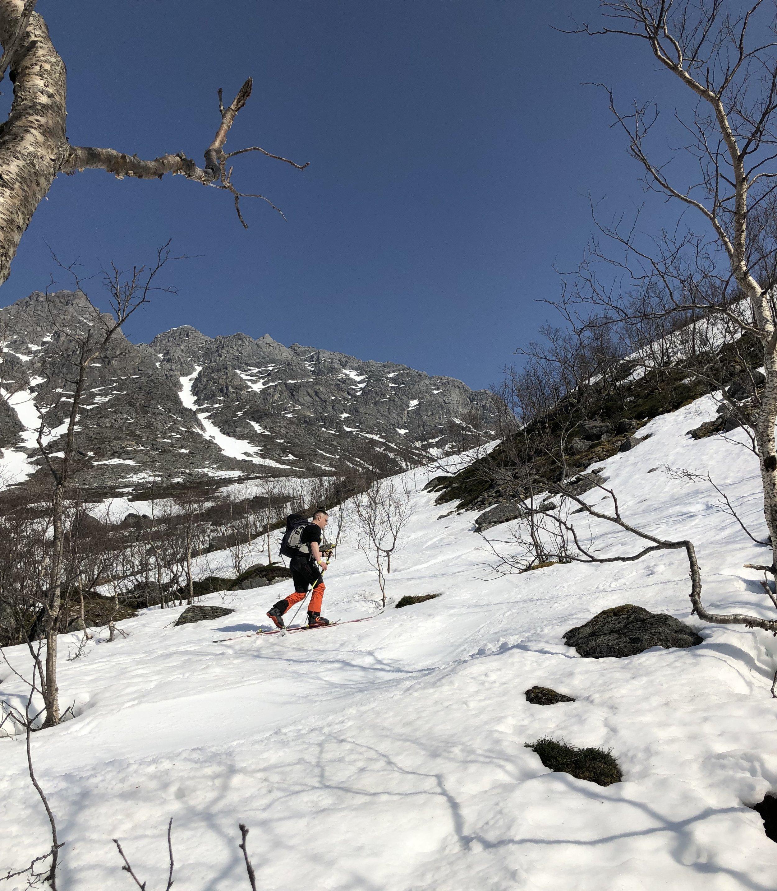 Men etter 10 minutter var skiene på